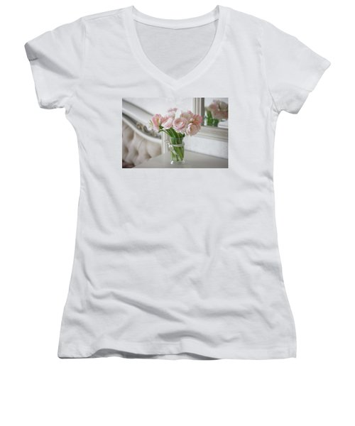Bouquet Of Delicate Ranunculus And Tulips In Interior Women's V-Neck