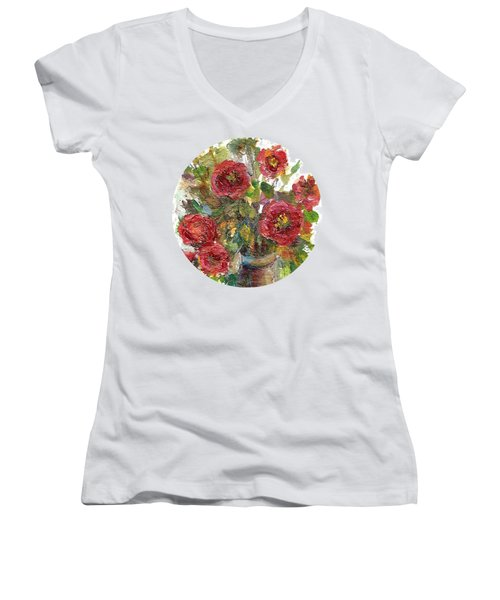 Bouquet Of Poppies Women's V-Neck