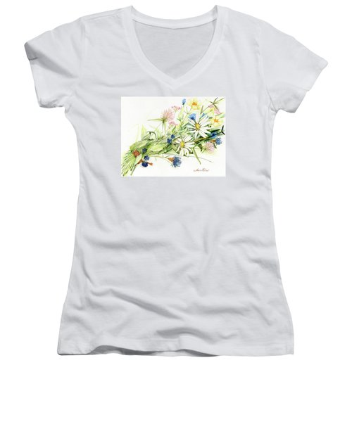 Bouquet Of Wildflowers Women's V-Neck