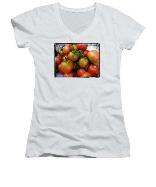 Bowl Of Heirloom Tomatoes Women's V-Neck T-Shirt (Junior Cut) by Kathy Barney