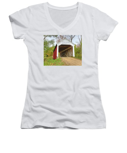 Women's V-Neck T-Shirt (Junior Cut) featuring the photograph Bowser Ford Covered Bridge by Harold Rau