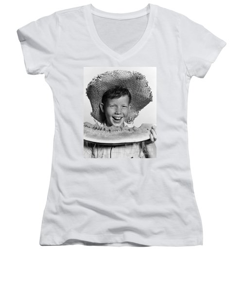 Boy Eating Watermelon, C.1940-50s Women's V-Neck T-Shirt (Junior Cut) by H. Armstrong Roberts/ClassicStock