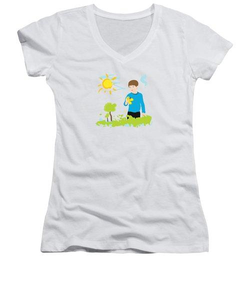 Boy Painting Summer Scene Women's V-Neck T-Shirt
