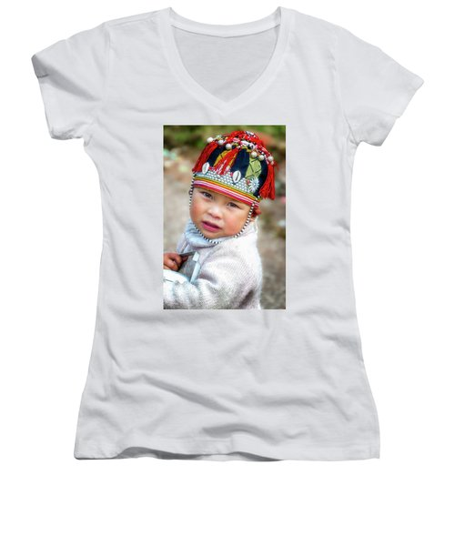 Boy With A Red Cap. Women's V-Neck