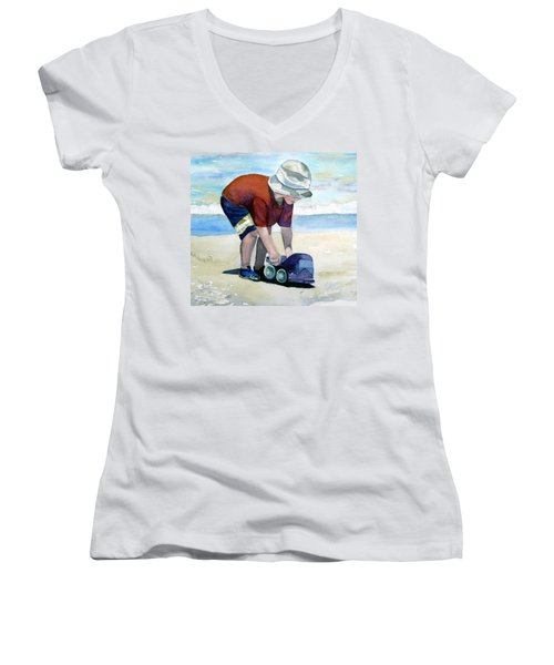 Boy With Truck Women's V-Neck