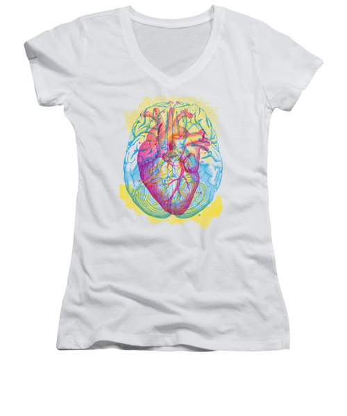 Brain Heart Circulation Women's V-Neck (Athletic Fit)