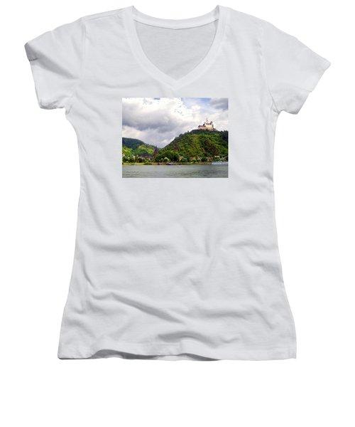 Women's V-Neck T-Shirt (Junior Cut) featuring the photograph Brambach Germany by Joan  Minchak