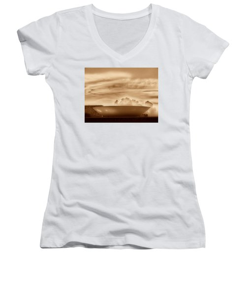 Women's V-Neck T-Shirt (Junior Cut) featuring the photograph Brasilia In Sepia by Beto Machado