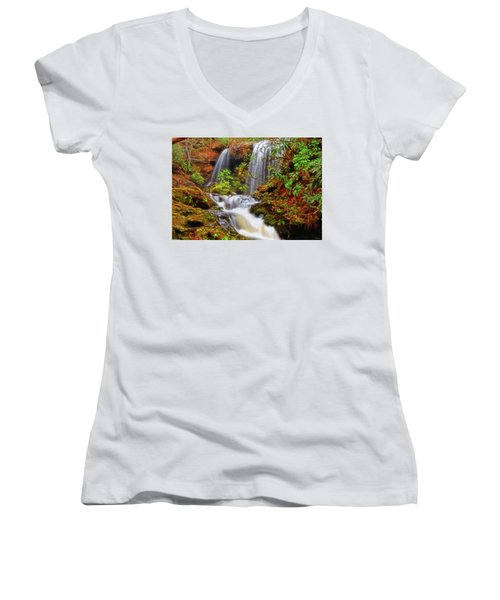 Brasstown Falls 013 Women's V-Neck T-Shirt