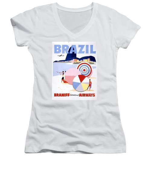 Brazil Vintage Travel Poster Restored Women's V-Neck (Athletic Fit)