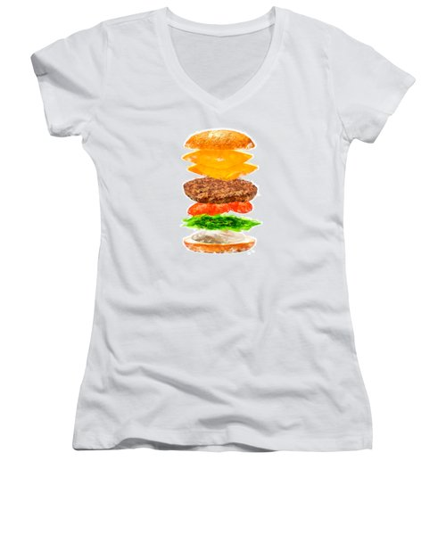 Brazilian Salad Cheeseburger Women's V-Neck T-Shirt (Junior Cut) by Caito Junqueira