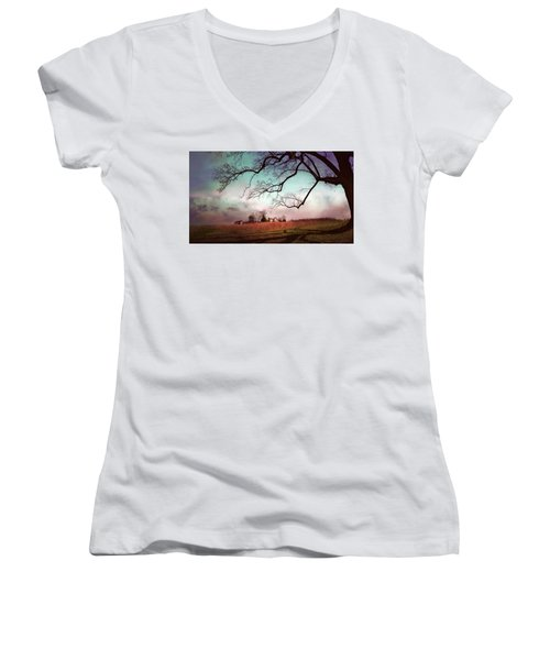 Break Of Dawn Women's V-Neck T-Shirt (Junior Cut) by John Rivera