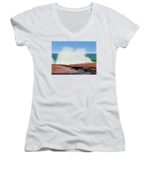 Women's V-Neck T-Shirt (Junior Cut) featuring the painting Breakers On Georgian Bay by Kenneth M  Kirsch