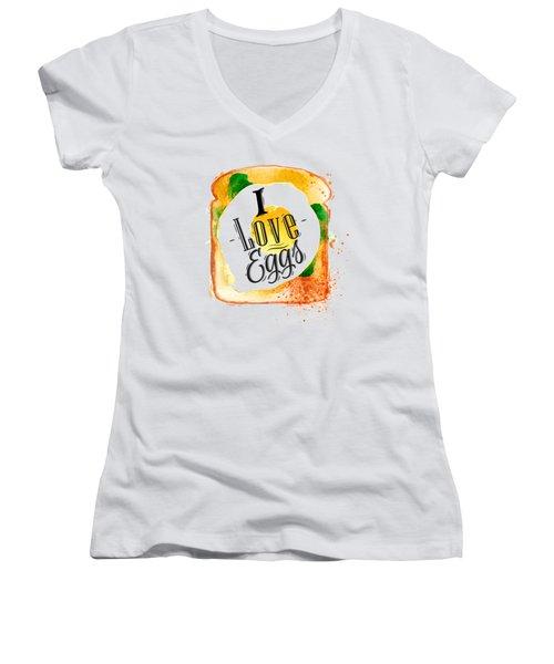I Love Eggs Women's V-Neck T-Shirt (Junior Cut) by Aloke Creative Store