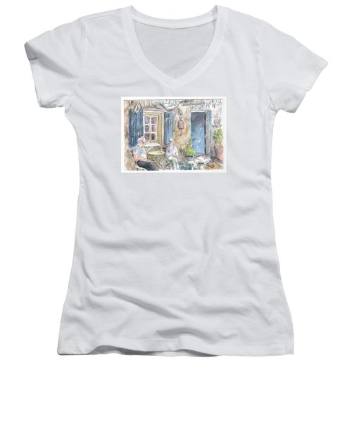 Breakfast Al Fresco Women's V-Neck T-Shirt (Junior Cut)