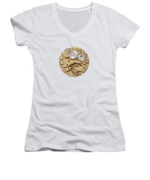 Women's V-Neck T-Shirt (Junior Cut) featuring the photograph Breaking Apart Clockwork Mechanism by Michal Boubin