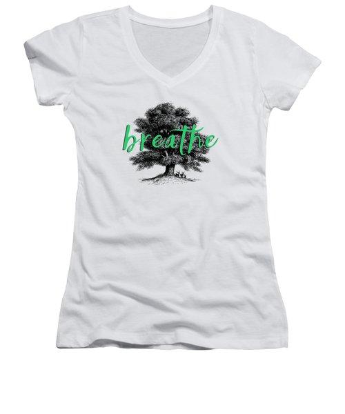Breathe Shirt Women's V-Neck T-Shirt (Junior Cut) by Edward Fielding