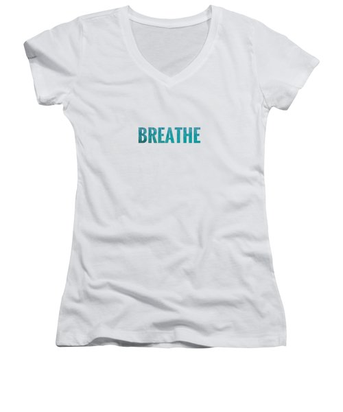 Breathe White Background Women's V-Neck (Athletic Fit)