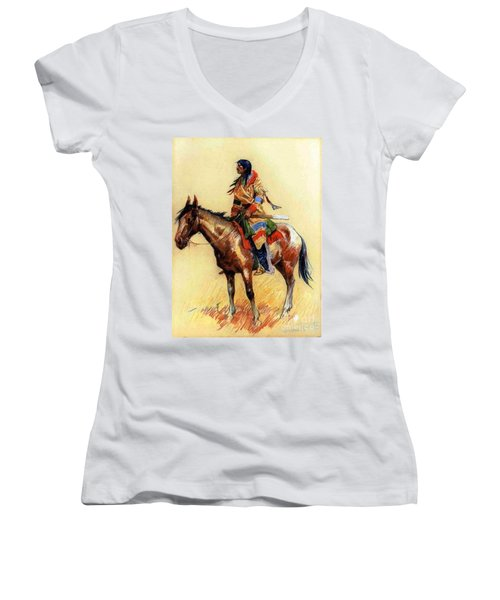 Women's V-Neck T-Shirt (Junior Cut) featuring the painting Breed by Pg Reproductions