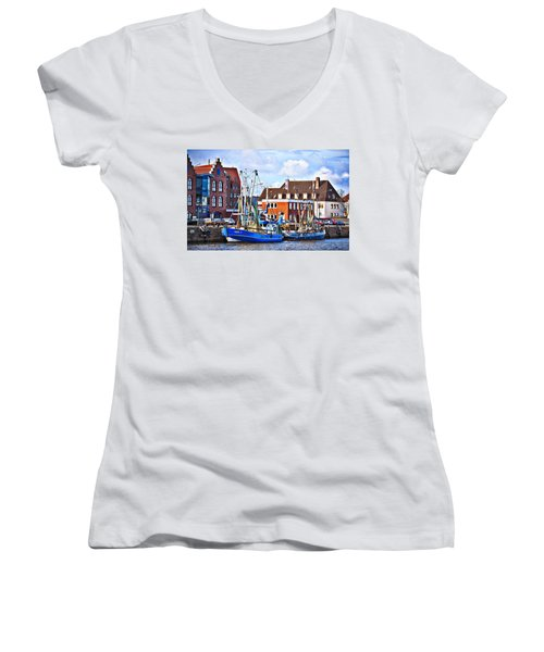 Bremerhaven Harbor, Germany Women's V-Neck