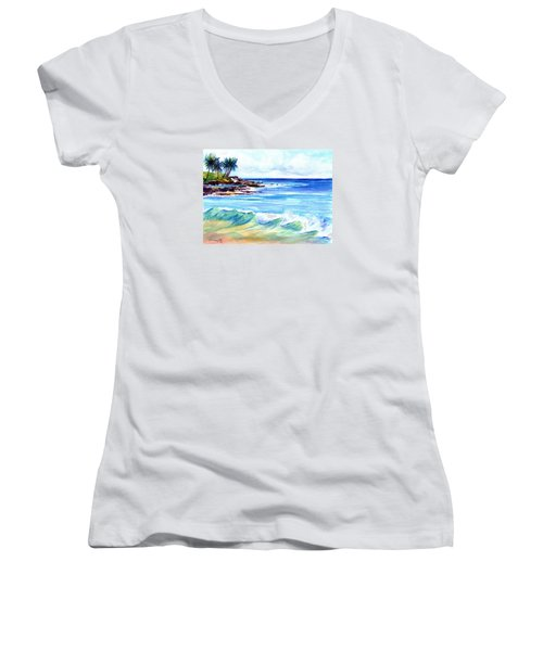 Women's V-Neck T-Shirt (Junior Cut) featuring the painting Brennecke's Beach by Marionette Taboniar