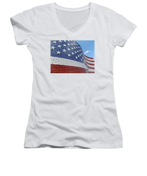 Brick Flag Women's V-Neck T-Shirt