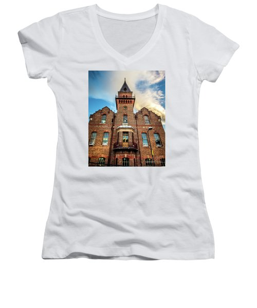 Women's V-Neck T-Shirt (Junior Cut) featuring the photograph Brick Tower by Perry Webster