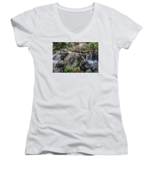 Bridalveil Creek Women's V-Neck T-Shirt (Junior Cut) by Ryan Weddle