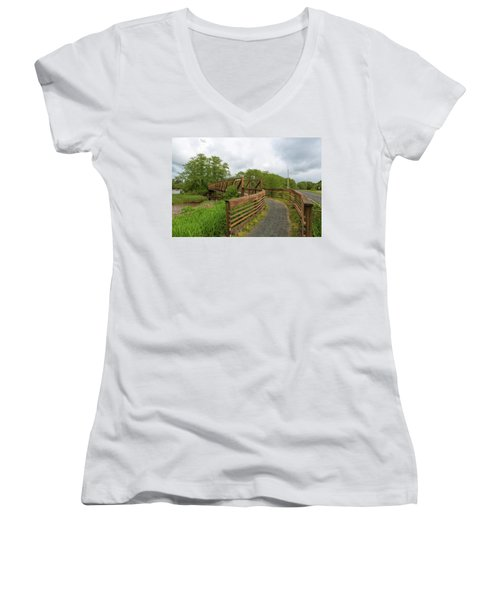Bridge Along Lewis And Clark Hiking Trail  Women's V-Neck (Athletic Fit)