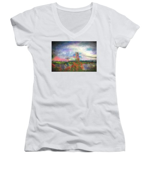 Women's V-Neck T-Shirt (Junior Cut) featuring the digital art Bridge Blues by Terry Cork