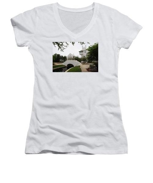 Bridge In Alys Beach Women's V-Neck T-Shirt (Junior Cut) by Megan Cohen