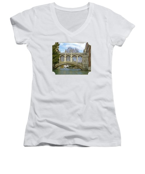 Bridge Of Sighs Cambridge Women's V-Neck T-Shirt (Junior Cut) by Gill Billington