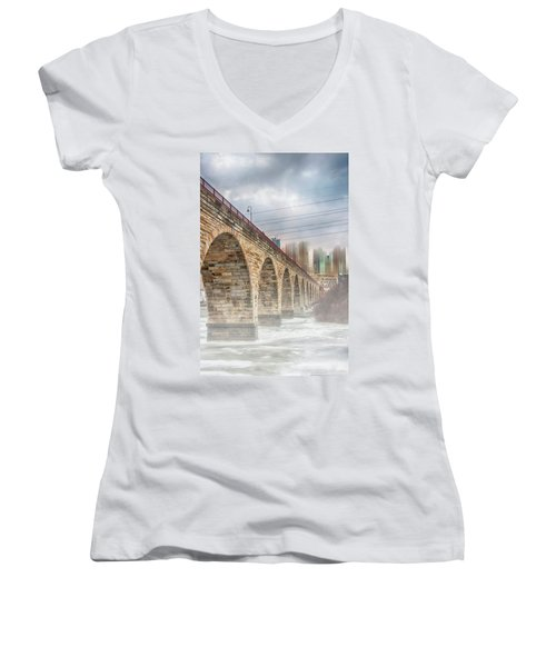 Bridge Over Frozen Water Women's V-Neck T-Shirt