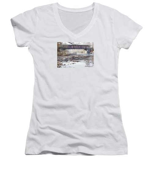 Bridge Over Troubled Waters Women's V-Neck T-Shirt (Junior Cut) by EricaMaxine  Price