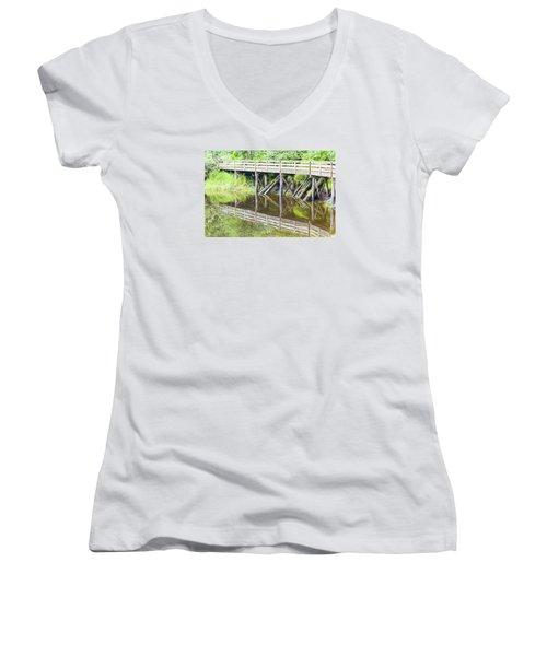 Bridge To Nowhere Women's V-Neck T-Shirt (Junior Cut) by Harold Piskiel