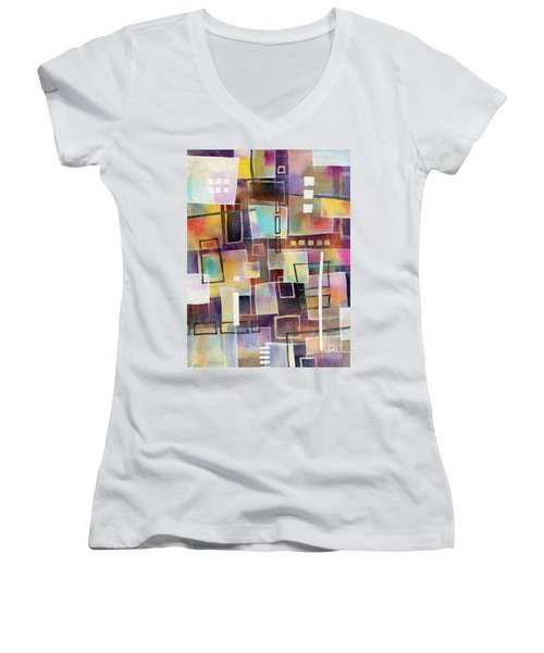 Women's V-Neck T-Shirt (Junior Cut) featuring the painting Bridging Gaps 2 by Hailey E Herrera
