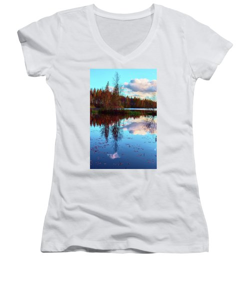 Bright Colors Of Autumn Reflected In The Still Waters Of A Beautiful Forest Lake Women's V-Neck T-Shirt