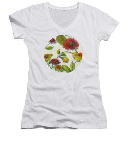 Bright Contemporary Floral  Women's V-Neck