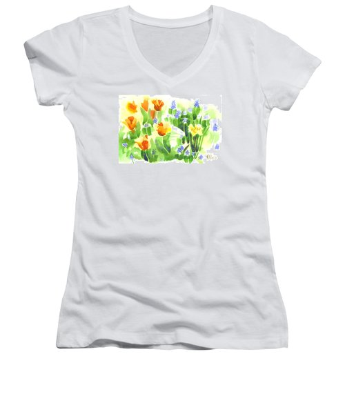 Women's V-Neck T-Shirt (Junior Cut) featuring the painting Brightly April Flowers by Kip DeVore