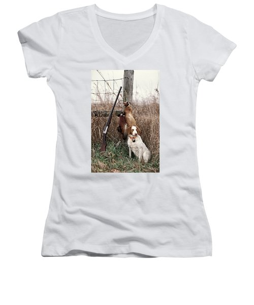 Brittany And Pheasants - Fs000757b Women's V-Neck (Athletic Fit)