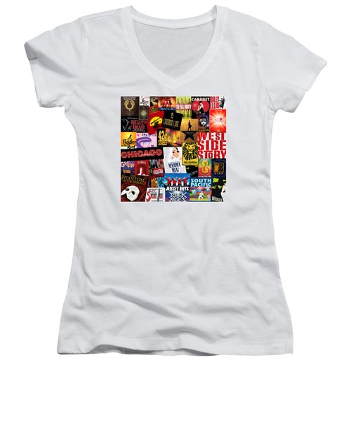 Broadway 10 Women's V-Neck T-Shirt (Junior Cut) by Andrew Fare
