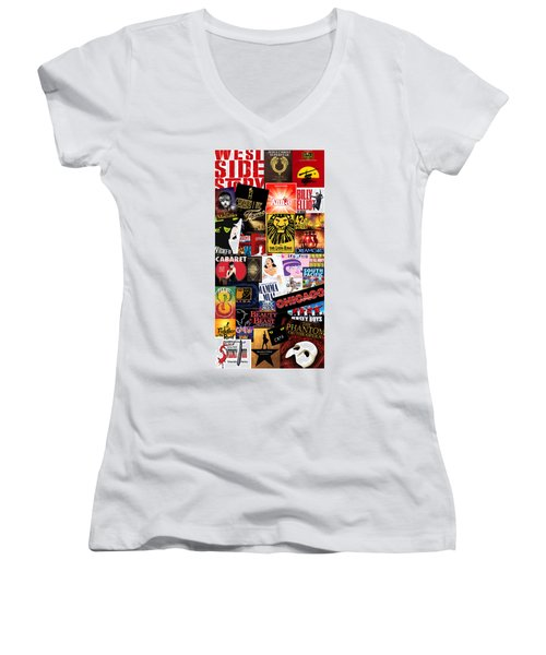 Broadway 9 Women's V-Neck T-Shirt (Junior Cut) by Andrew Fare