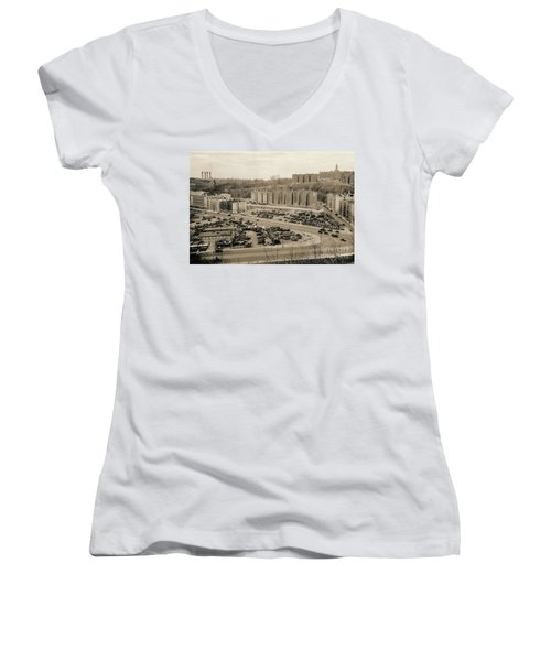 Women's V-Neck T-Shirt featuring the photograph Broadway And Nagle Ave 1936 by Cole Thompson