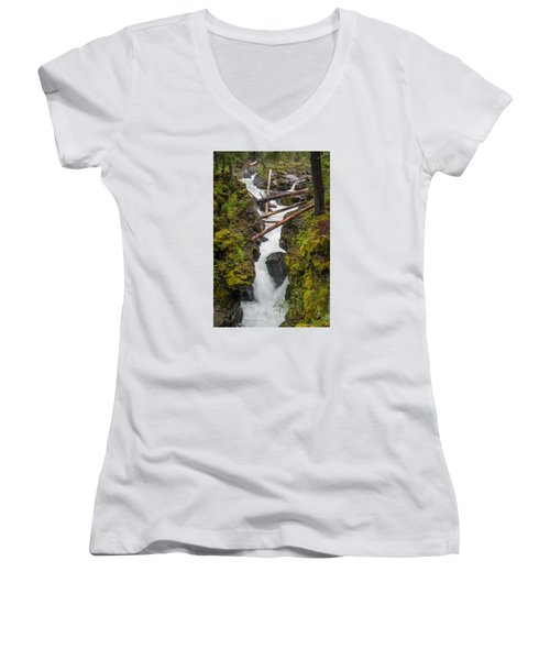 Broiling Rogue Gorge Women's V-Neck T-Shirt (Junior Cut) by Greg Nyquist
