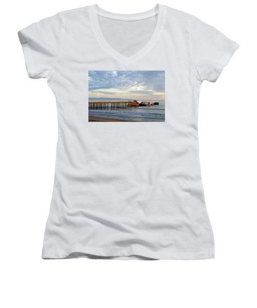 Broken Boat, Ss Palo Alto Women's V-Neck T-Shirt (Junior Cut) by Amelia Racca
