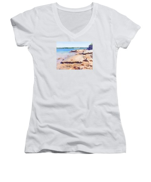 Broken Walkway Rock At Ten Pound Island Beach Women's V-Neck T-Shirt (Junior Cut) by Melissa Abbott