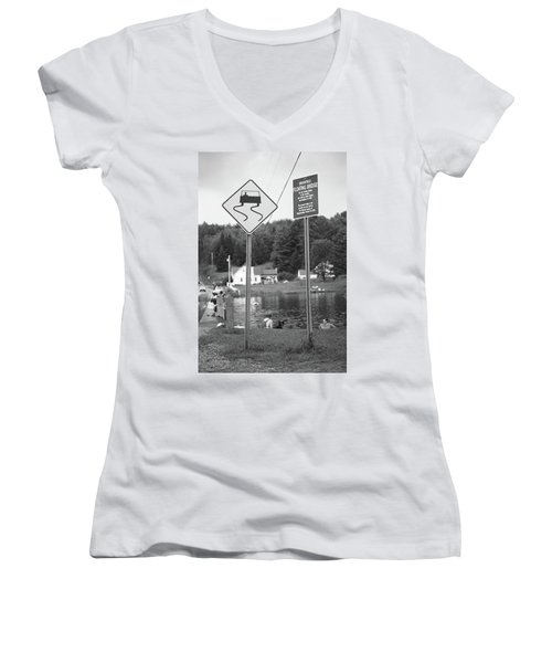 Women's V-Neck T-Shirt (Junior Cut) featuring the photograph Brookfield, Vt - Floating Bridge 2 Bw by Frank Romeo