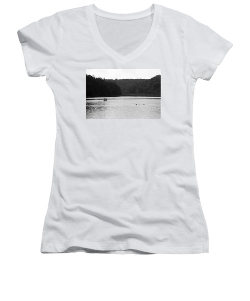 Women's V-Neck T-Shirt (Junior Cut) featuring the photograph Brookfield, Vt - Swimming Hole 2006 Bw by Frank Romeo