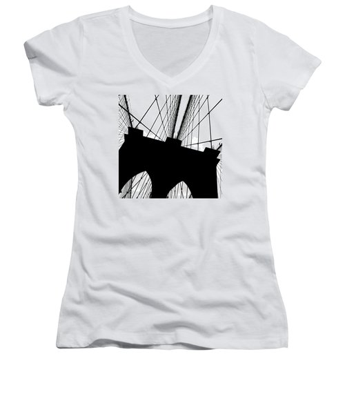 Brooklyn Bridge Architectural View Women's V-Neck (Athletic Fit)