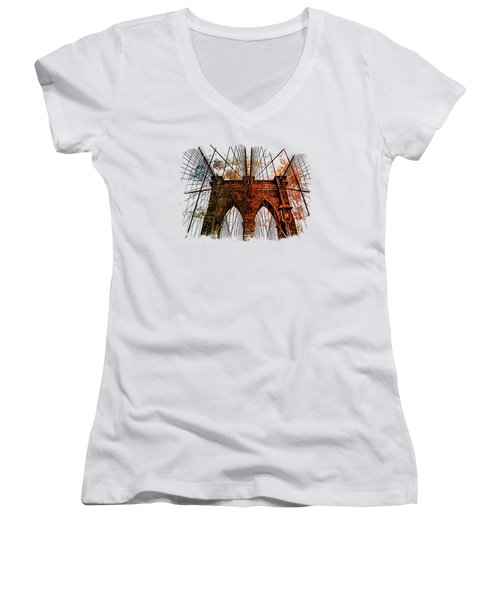 Brooklyn Bridge Art 1 Women's V-Neck T-Shirt (Junior Cut) by Di Designs